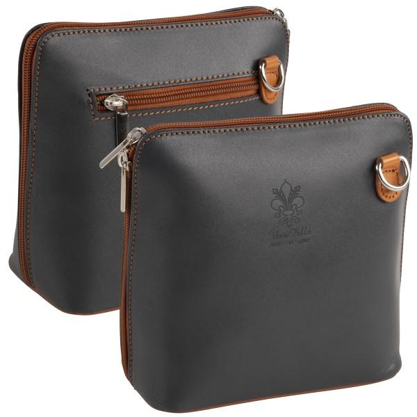 Italienische Damen Handtaschen aus Echtleder Damentasche Henkeltasche Italy Grau-Braun