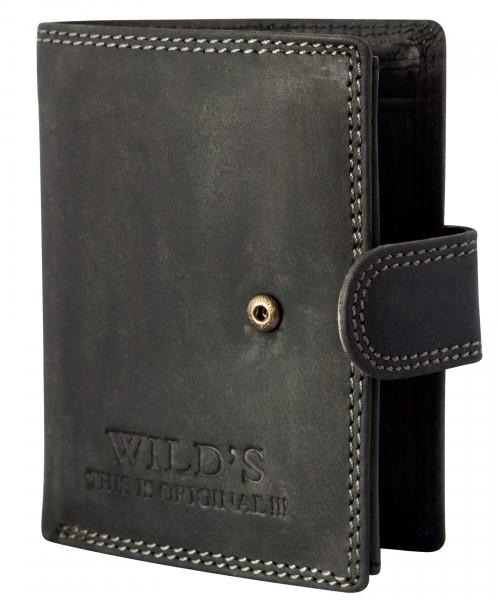 Herren Portemonnaie aus Leder Schwarz W01L mit Clippverschluss Geldbörse Brieftasche