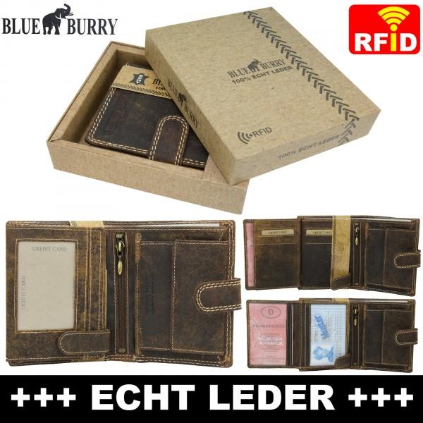 RFID Männer Portemonnaie aus Leder von Blue Burry RF01L mit Clippverschluss Dunkelbraun