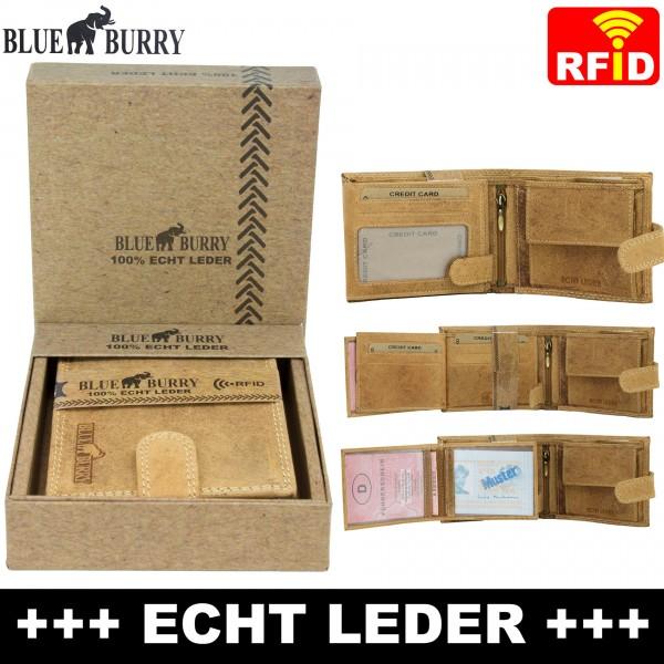 Premium Herren Portemonnaie aus Leder mit RFID-Schutz RF-02-L Hellbraun