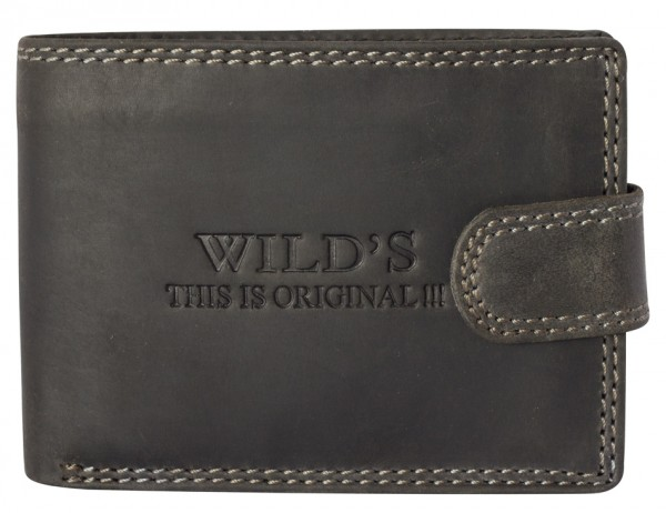 Herren Portemonnaie aus Vintage Leder Clippverschluss Querformat Schwarz Modell Wilds W02L
