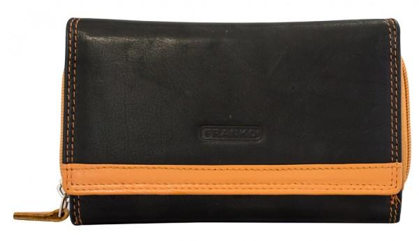 Damen Geldbeutel aus Leder vielen Kartenfächern Geldbörse Portemonnaie Schwarz Orange 381