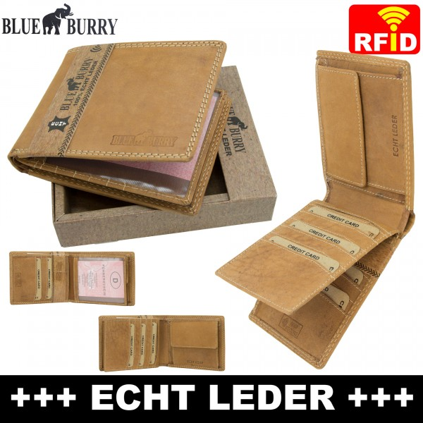 Premium Herren Portemonnaie aus Leder mit RFID-Schutz RF05 Hellbraun
