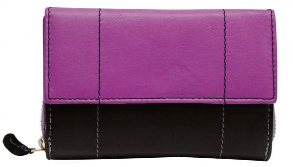 Pinke Damen Geldbeutel aus weichem Rindsleder mit Druckknopf und Reißverschluss BB05 Schwarz Pink
