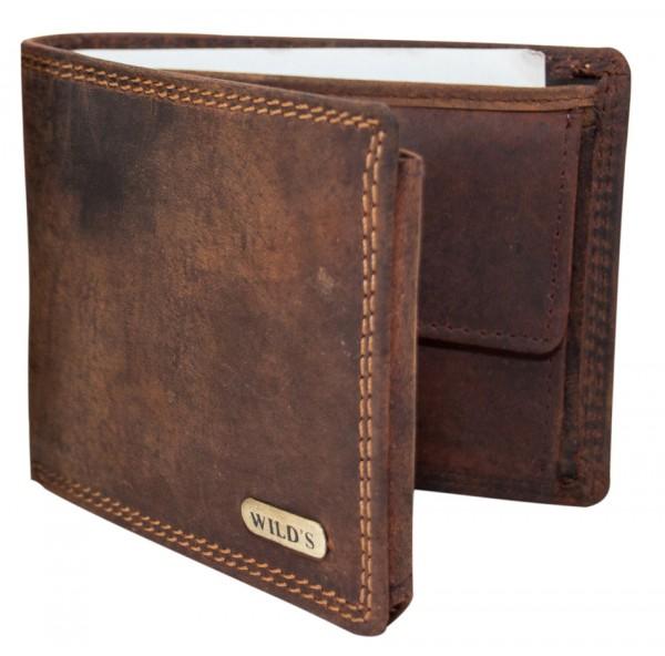 Herren Geldbeutel aus Vintage Leder Querformat Dunkelbraun Modell Wilds 1598