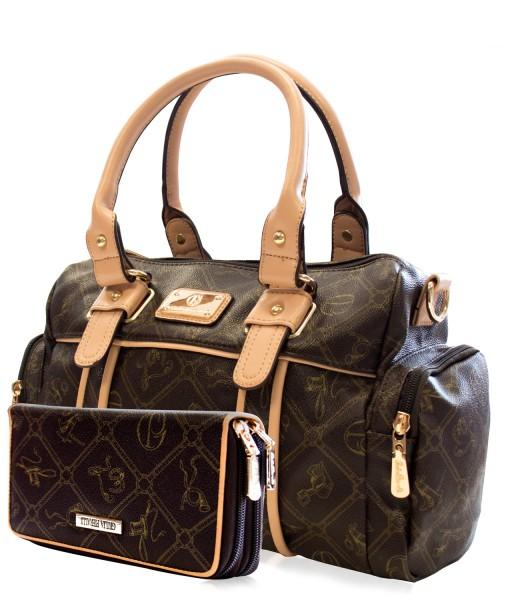 SET Damen Handtasche + Damen Geldbörse Giulia Pieralli 26119E Coffe