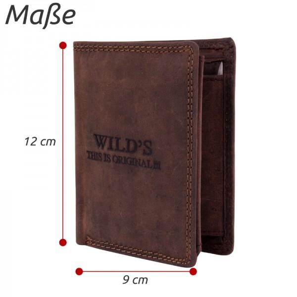 Herren Portemonnaie aus Leder Dunkelbraun W01 Geldbörse Brieftasche
