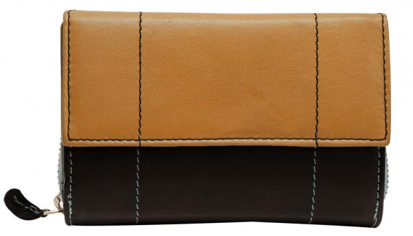 Hellbraune Damen Geldbeutel aus weichem Rindsleder mit Druckknopf und Reißverschluss BB05 Schwarz He