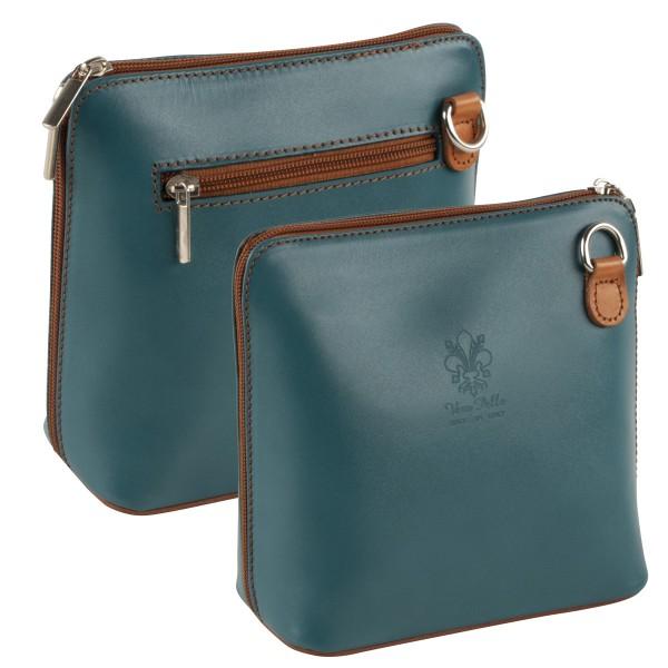 Italienische Damen Handtaschen aus Echtleder Damentasche Henkeltasche Italy Braun-Blau
