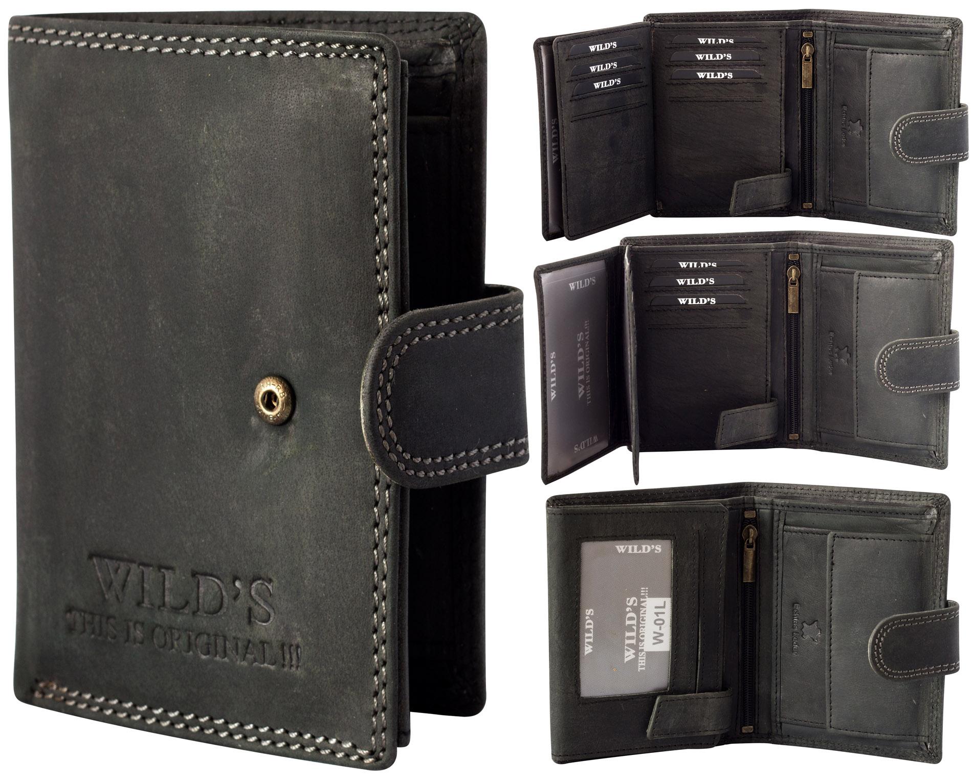 2b6ed8dabaff0 ... Vorschau  Herren Portemonnaie aus Leder Schwarz W01L mit  Clippverschluss Geldbörse Brieftasche ...